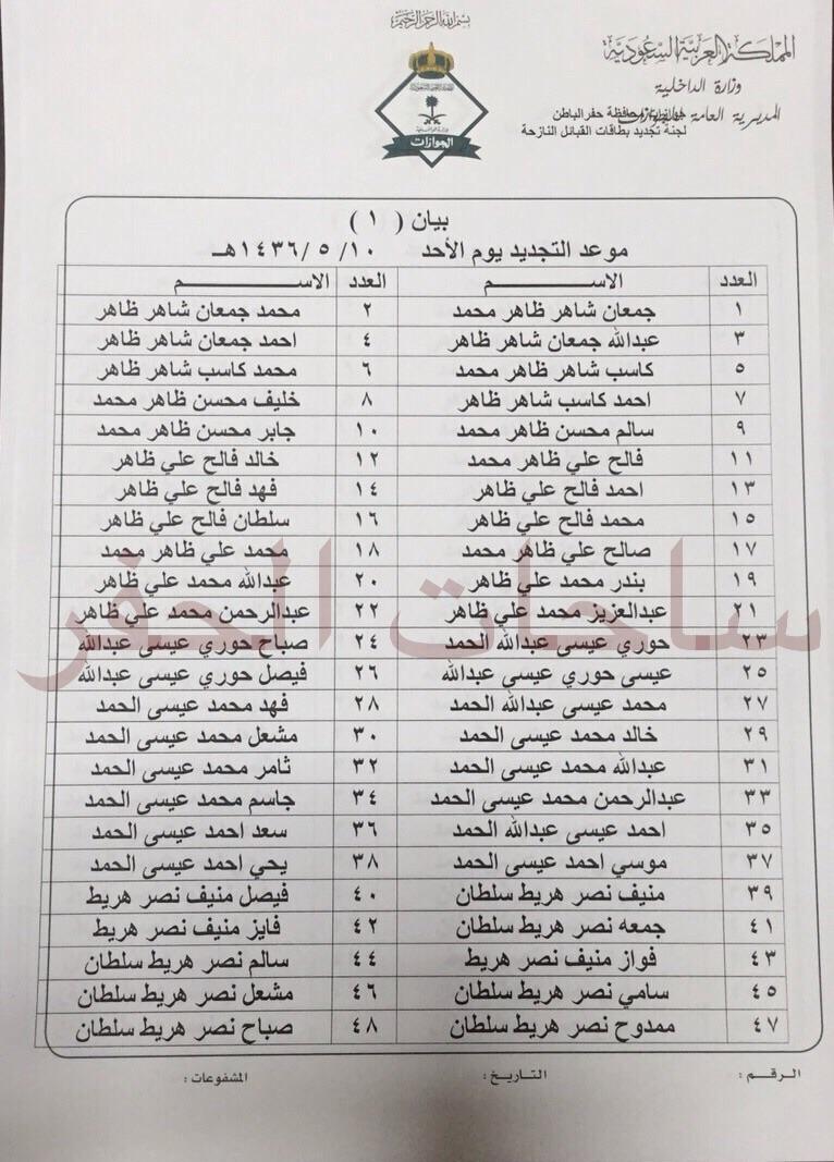جوازات حفر الباطن تعلن الدفعة الخامسة للتجديد من أبناء القبائل النازحة الساحات