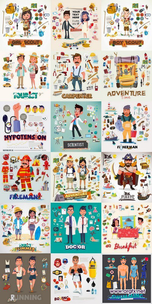 Funny cartoon people and characters of different profession 25 Eps