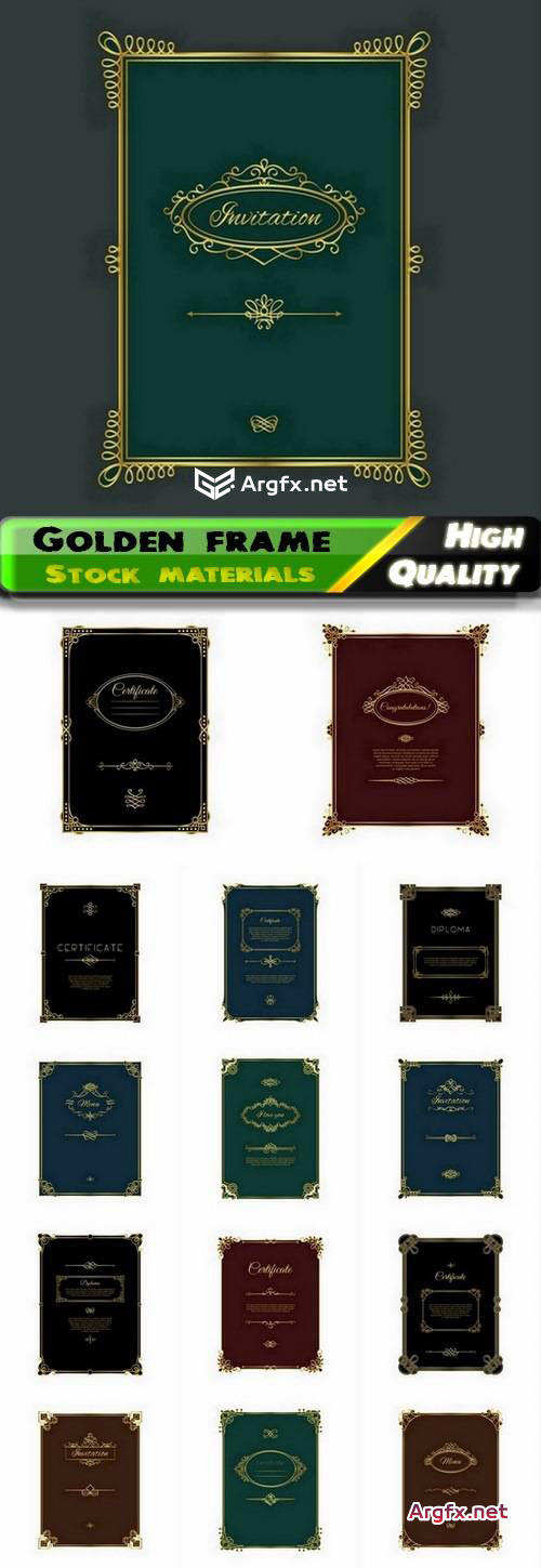 Golden frame for certificate or diploma template 15 Eps